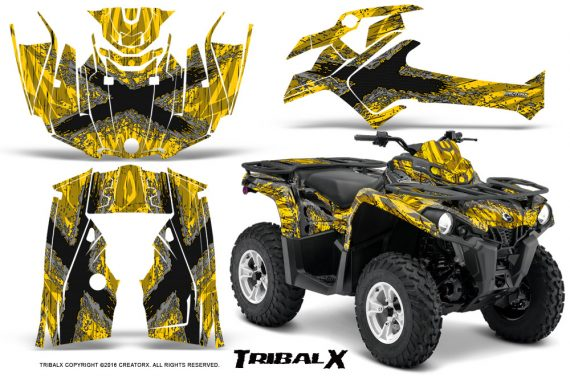 Can Am Outlander L 2014 2016 CreatorX Graphics Kit TribalX Silver Yellow 570x376 - Can-Am Outlander 2014-2019 450 570 L Max-L DPS Graphics