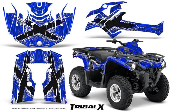 Can Am Outlander L 2014 2016 CreatorX Graphics Kit TribalX White Blue 570x376 - Can-Am Outlander 2014-2019 450 570 L Max-L DPS Graphics