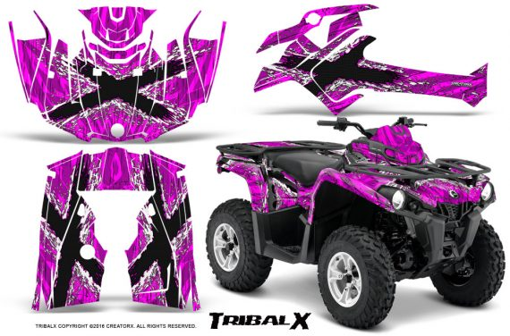 Can Am Outlander L 2014 2016 CreatorX Graphics Kit TribalX White Pink 570x376 - Can-Am Outlander 2014-2019 450 570 L Max-L DPS Graphics