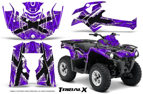 Can Am Outlander L 2014 2016 CreatorX Graphics Kit TribalX White Purple 570x376 - Can-Am Outlander 2014-2019 450 570 L Max-L DPS Graphics