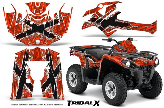 Can Am Outlander L 2014 2016 CreatorX Graphics Kit TribalX White Red 570x376 - Can-Am Outlander 2014-2019 450 570 L Max-L DPS Graphics