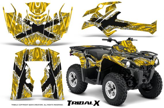 Can Am Outlander L 2014 2016 CreatorX Graphics Kit TribalX White Yellow 570x376 - Can-Am Outlander 2014-2019 450 570 L Max-L DPS Graphics