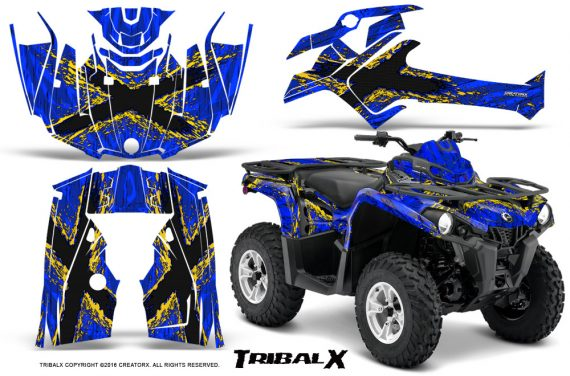 Can Am Outlander L 2014 2016 CreatorX Graphics Kit TribalX Yellow Blue 570x376 - Can-Am Outlander 2014-2019 450 570 L Max-L DPS Graphics
