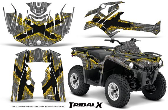 Can Am Outlander L 2014 2016 CreatorX Graphics Kit TribalX Yellow Silver 570x376 - Can-Am Outlander 2014-2019 450 570 L Max-L DPS Graphics