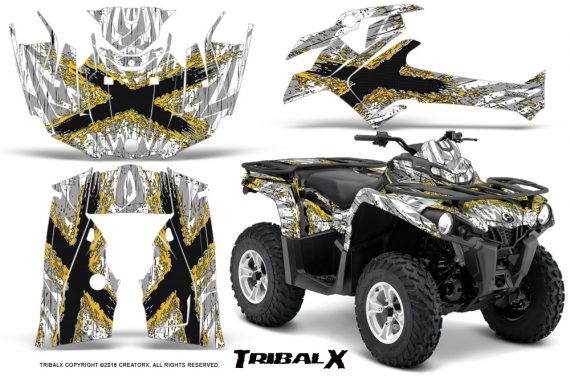 Can Am Outlander L 2014 2016 CreatorX Graphics Kit TribalX Yellow White 570x376 - Can-Am Outlander 2014-2019 450 570 L Max-L DPS Graphics