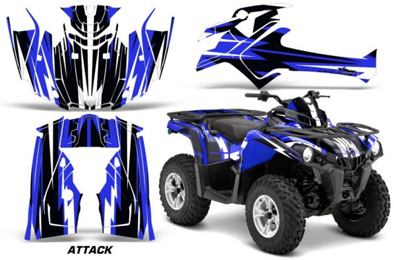 Canam Outlander L 2014 2015 Graphic Kit Wrap Attack Blue 570x376 - Can-Am Outlander 2014-2019 450 570 L Max-L DPS Graphics