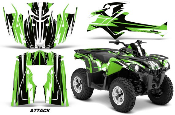 Canam Outlander L 2014 2015 Graphic Kit Wrap Attack Green 570x376 - Can-Am Outlander 2014-2019 450 570 L Max-L DPS Graphics