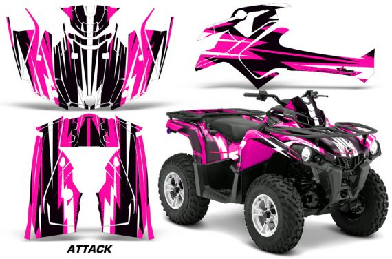 Canam Outlander L 2014 2015 Graphic Kit Wrap Attack Pink 570x376 - Can-Am Outlander 2014-2019 450 570 L Max-L DPS Graphics