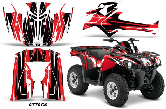 Canam Outlander L 2014 2015 Graphic Kit Wrap Attack Red 570x376 - Can-Am Outlander 2014-2019 450 570 L Max-L DPS Graphics