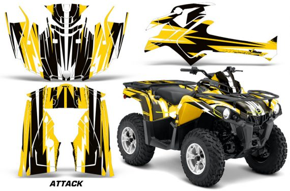 Canam Outlander L 2014 2015 Graphic Kit Wrap Attack Yellow 570x376 - Can-Am Outlander 2014-2019 450 570 L Max-L DPS Graphics