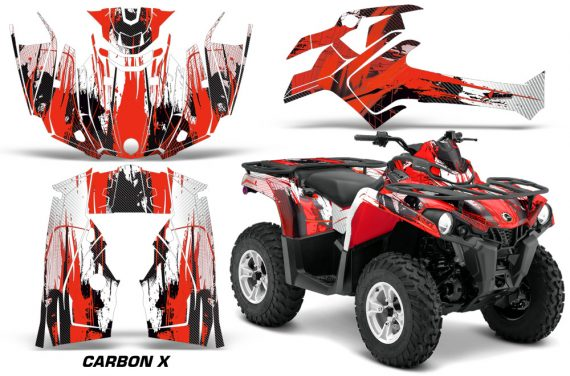 Canam Outlander L 2014 2015 Graphic Kit Wrap Carbon X Red 570x376 - Can-Am Outlander 2014-2019 450 570 L Max-L DPS Graphics