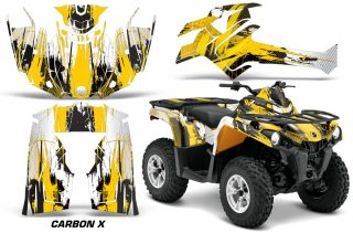 Canam Outlander L 2014 2015 Graphic Kit Wrap Carbon X Yellow 320x211 - Can-Am Outlander 2014-2019 450 570 L Max-L DPS Graphics