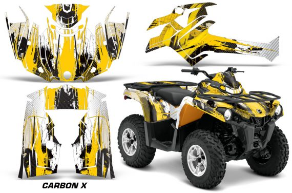 Canam Outlander L 2014 2015 Graphic Kit Wrap Carbon X Yellow 570x376 - Can-Am Outlander 2014-2019 450 570 L Max-L DPS Graphics