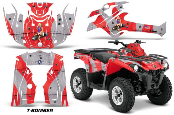 Canam Outlander L 2014 2015 Graphic Kit Wrap T Bomber Red 570x376 - Can-Am Outlander 2014-2019 450 570 L Max-L DPS Graphics