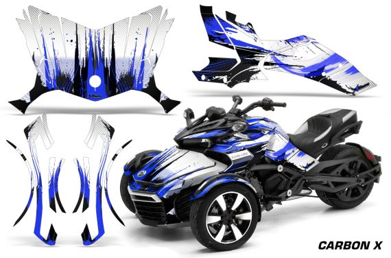 Can-Am-Spyder-F3-Wrap-Graphic-Kit-Carbon-X-Blue