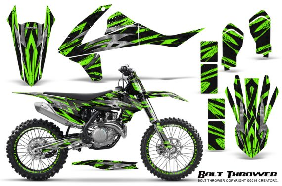 KTM SXF XCF 250 350 450 2016 CreatorX Graphics Kit Bolt Thrower Green NP Rims 570x376 - KTM C10 SX-F XC-F 250-350-450 SX 125-450 2016+ Graphics