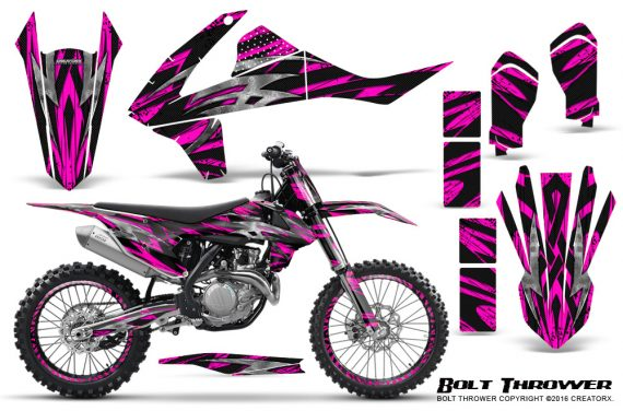KTM SXF XCF 250 350 450 2016 CreatorX Graphics Kit Bolt Thrower Pink NP Rims 570x376 - KTM C10 SX-F XC-F 250-350-450 SX 125-450 2016+ Graphics