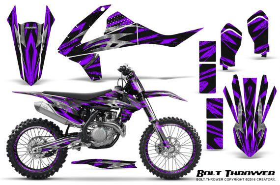 KTM SXF XCF 250 350 450 2016 CreatorX Graphics Kit Bolt Thrower Purple NP Rims 570x376 - KTM C10 SX-F XC-F 250-350-450 SX 125-450 2016+ Graphics
