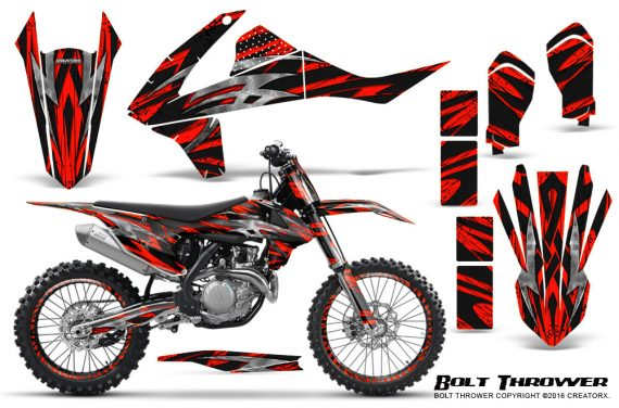 KTM SXF XCF 250 350 450 2016 CreatorX Graphics Kit Bolt Thrower Red NP Rims 570x376 - KTM C10 SX-F XC-F 250-350-450 SX 125-450 2016+ Graphics