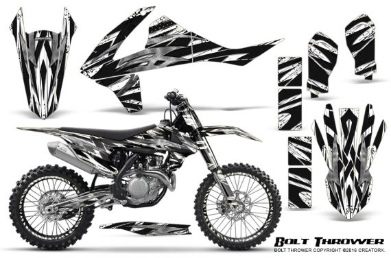 KTM SXF XCF 250 350 450 2016 CreatorX Graphics Kit Bolt Thrower White NP Rims 570x376 - KTM C10 SX-F XC-F 250-350-450 SX 125-450 2016+ Graphics