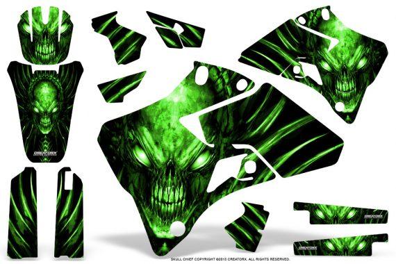 Yamaha YZ 125 250 96 01 Graphics Kit Skull Chief Green 570x380 - Yamaha YZ125 YZ250 2 Stroke 1996-2001 Graphics