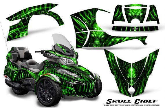 Can Am Spyder RT S 2014 2016 Full Trim Skull Chief Green 570x376 - Can-Am Spyder RTS 2014-2019 Graphics with Trim Kit