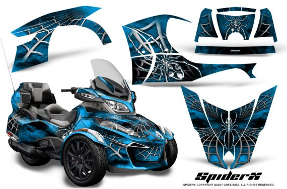 Can Am Spyder RT S 2014 2016 Full Trim SpiderX BlueIce 570x376 - Can-Am Spyder RTS 2014-2019 Graphics with Trim Kit