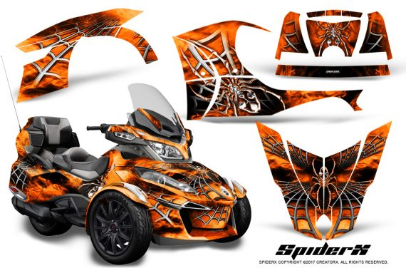 Can Am Spyder RT S 2014 2016 Full Trim SpiderX Orange 1 570x376 - Can-Am Spyder RTS 2014-2019 Graphics with Trim Kit