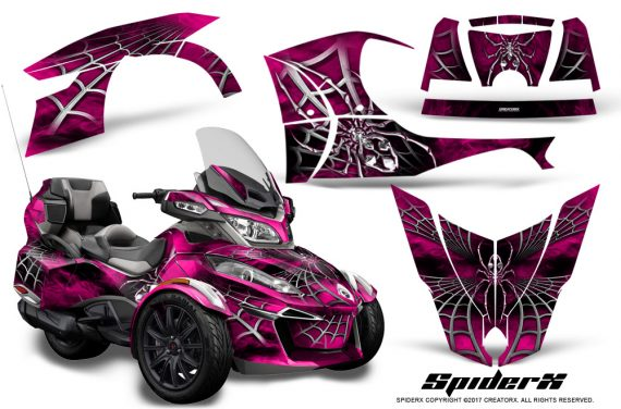 Can Am Spyder RT S 2014 2016 Full Trim SpiderX Pink 1 570x376 - Can-Am Spyder RTS 2014-2019 Graphics with Trim Kit