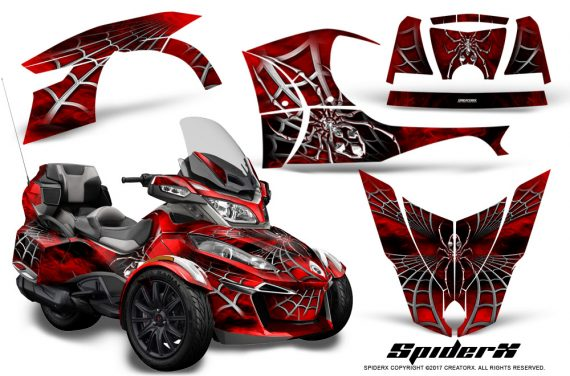 Can Am Spyder RT S 2014 2016 Full Trim SpiderX Red 1 570x376 - Can-Am Spyder RTS 2014-2019 Graphics with Trim Kit