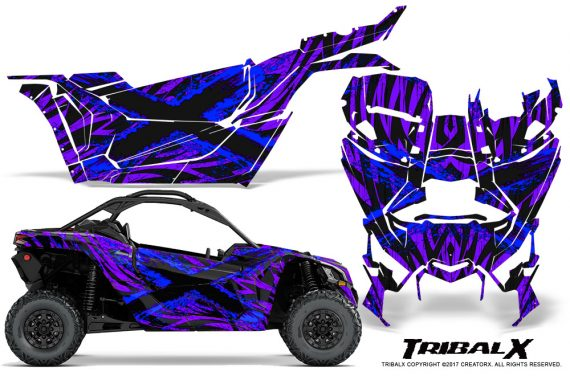 Can-am-Canam-Maverick-X3-CreatorX-Graphics-Kit-TribalX-Custom-Blue_Purple-With-Door-Insert_Rims