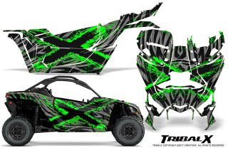 Can-am-Canam-Maverick-X3-CreatorX-Graphics-Kit-TribalX-Custom-Green_Silver-With-Door-Insert_Rims
