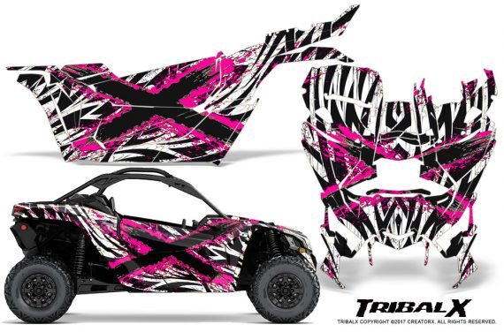 Can-am-Canam-Maverick-X3-CreatorX-Graphics-Kit-TribalX-Custom-Pink_White-With-Door-Insert_Rims