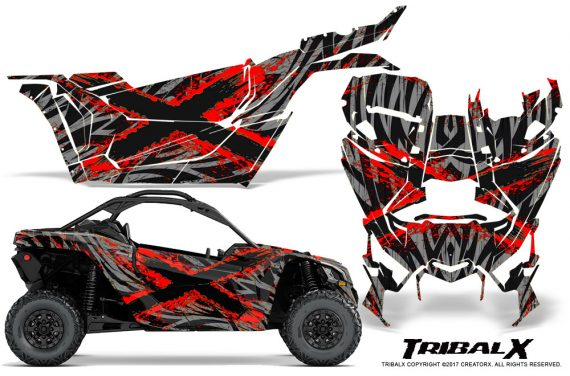 Can-am-Canam-Maverick-X3-CreatorX-Graphics-Kit-TribalX-Custom-Red_Silver-With-Door-Insert_Rims