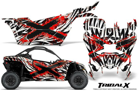 Can-am-Canam-Maverick-X3-CreatorX-Graphics-Kit-TribalX-Custom-Red_White-With-Door-Insert_Rims