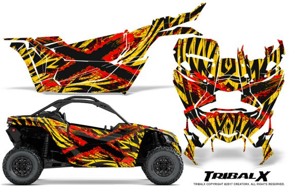 Can-am-Canam-Maverick-X3-CreatorX-Graphics-Kit-TribalX-Custom-Red_Yellow-With-Door-Insert