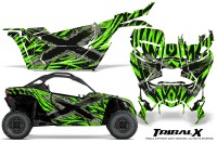 Can-am-Canam-Maverick-X3-CreatorX-Graphics-Kit-TribalX-Custom-Silver_Green-With-Door-Insert_Rims
