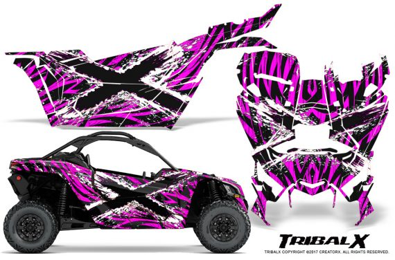 Can-am-Canam-Maverick-X3-CreatorX-Graphics-Kit-TribalX-Custom-White_Pink-With-Door-Insert_Rims