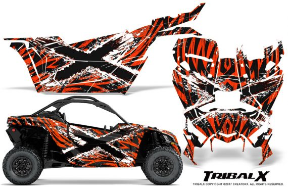 Can-am-Canam-Maverick-X3-CreatorX-Graphics-Kit-TribalX-Custom-White_Red-With-Door-Insert_Rims