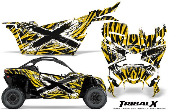 Can-am-Canam-Maverick-X3-CreatorX-Graphics-Kit-TribalX-Custom-White_Yellow-With-Door-Insert_Rims