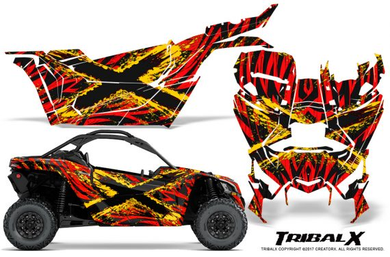 Can-am-Canam-Maverick-X3-CreatorX-Graphics-Kit-TribalX-Custom-Yellow_Red-With-Door-Insert_Rims