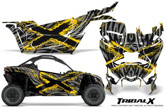 Can-am-Canam-Maverick-X3-CreatorX-Graphics-Kit-TribalX-Custom-Yellow_Silver-With-Door-Insert_Rims