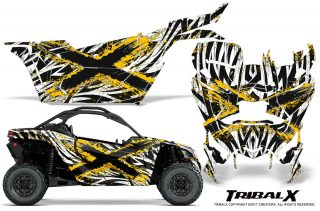 Can am Canam Maverick X3 CreatorX Graphics Kit TribalX Custom Yellow White With Door Insert Rims 320x211 - Can-Am BRP Maverick X3/X DS/ X RS 2016-2021 Graphics