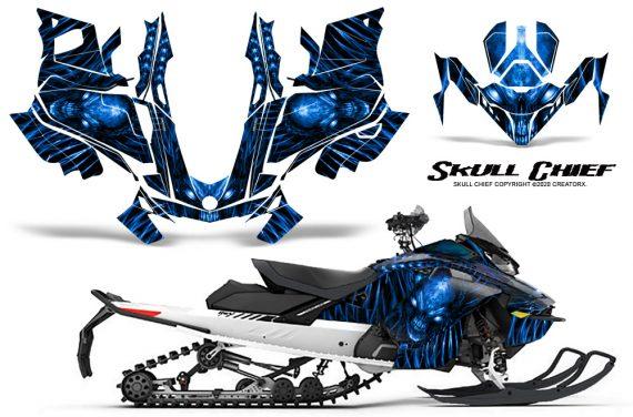 Skidoo Gen 4 850 X Summit Renegade E Tec Graphic Kit Skull Chief Blue 570x376 - Ski Doo GEN 4 MXZ Renegade Summit 850 2017-2021 Snowmobile Graphics