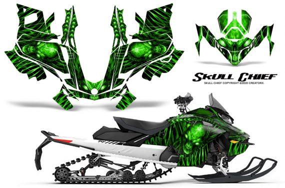 Skidoo Gen 4 850 X Summit Renegade E Tec Graphic Kit Skull Chief Green 570x376 - Ski Doo GEN 4 MXZ Renegade Summit 850 2017-2021 Snowmobile Graphics
