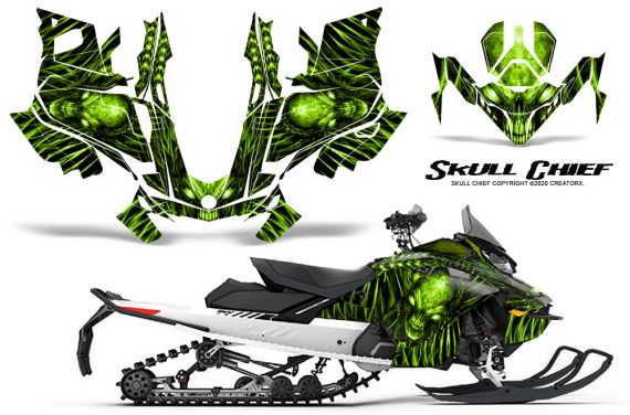 Skidoo Gen 4 850 X Summit Renegade E Tec Graphic Kit Skull Chief GreenLime 570x376 - Ski Doo GEN 4 MXZ Renegade Summit 850 2017-2021 Snowmobile Graphics