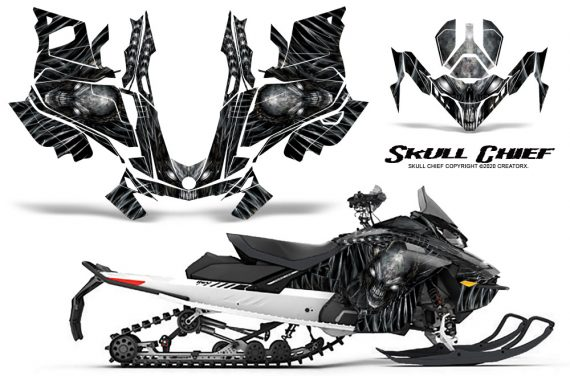 Skidoo Gen 4 850 X Summit Renegade E Tec Graphic Kit Skull Chief Silver 570x376 - Ski Doo GEN 4 MXZ Renegade Summit 850 2017-2021 Snowmobile Graphics