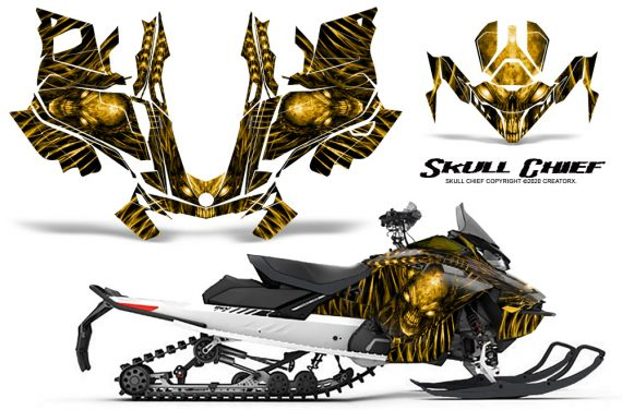 Skidoo Gen 4 850 X Summit Renegade E Tec Graphic Kit Skull Chief Yellow 570x376 - Ski Doo GEN 4 MXZ Renegade Summit 850 2017-2021 Snowmobile Graphics
