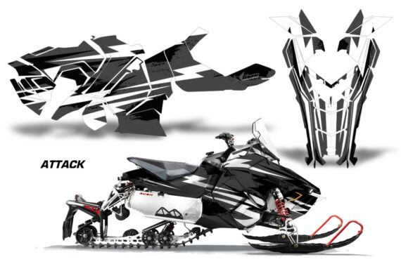Polaris Axys Graphic Kit Graphics Decal Wrap Attack Black 570x376 - Polaris Axys Rush Pro S/Switchback Adventure 2015+ Graphics