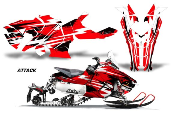 Polaris Axys Graphic Kit Graphics Decal Wrap Attack Red 570x376 - Polaris Axys Rush Pro S/Switchback Adventure 2015+ Graphics